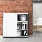 Uni Aktenschrank 1,2M abschließbar 3OH Weiß Büroschrank Schiebetürenschr